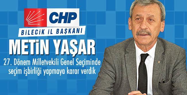 CHP İl Başkanı Metin Yaşar'ın Millet İttifakı ile ilgili basın açıklaması