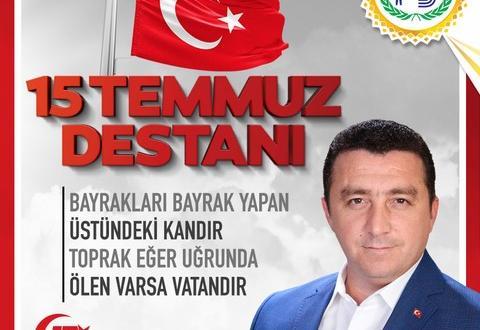 """BOZÜYÜK BELEDİYE BAŞKANI FATİH BAKICI'NIN """"DEMOKRASİ VE MİLLİ BİRLİK GÜNÜ"""" MESAJI"""