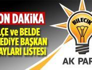 AK Parti Bilecik İlçe ve Belde Belediye Başkan Adayları Belli Oldu
