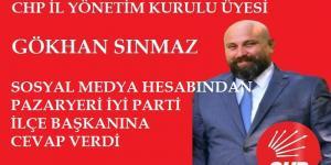 CHP'li SINMAZ, SOSYAL MEDYA HESABINDAN CEVAP VERDİ