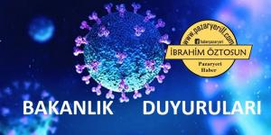 Koranavirüsle mücadele kapsamında alınan kararlara ilişkin duyuru ;