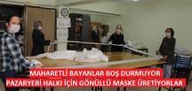 Pazaryeri İlçesinde Gönüllü bayanlar maske üretiyor