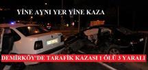 Pazaryeri Demirköy Köyünde Trafik Kazası 1 Ölü,3 Yaralı