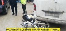 Pazaryeri'nde Motosiklet ile Otomobil Çarpıştı