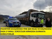 Pazaryeri Kavşağında Trafik Kazası 2 Yaralı